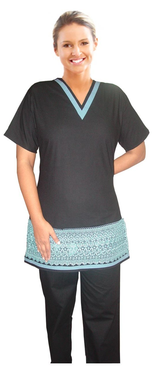 STYLISH LACE SPA V NECK TOP WITHOUT POCKET HALF SLEEVE LADIES WITH MATCHING STRIPE STYLE SOLID