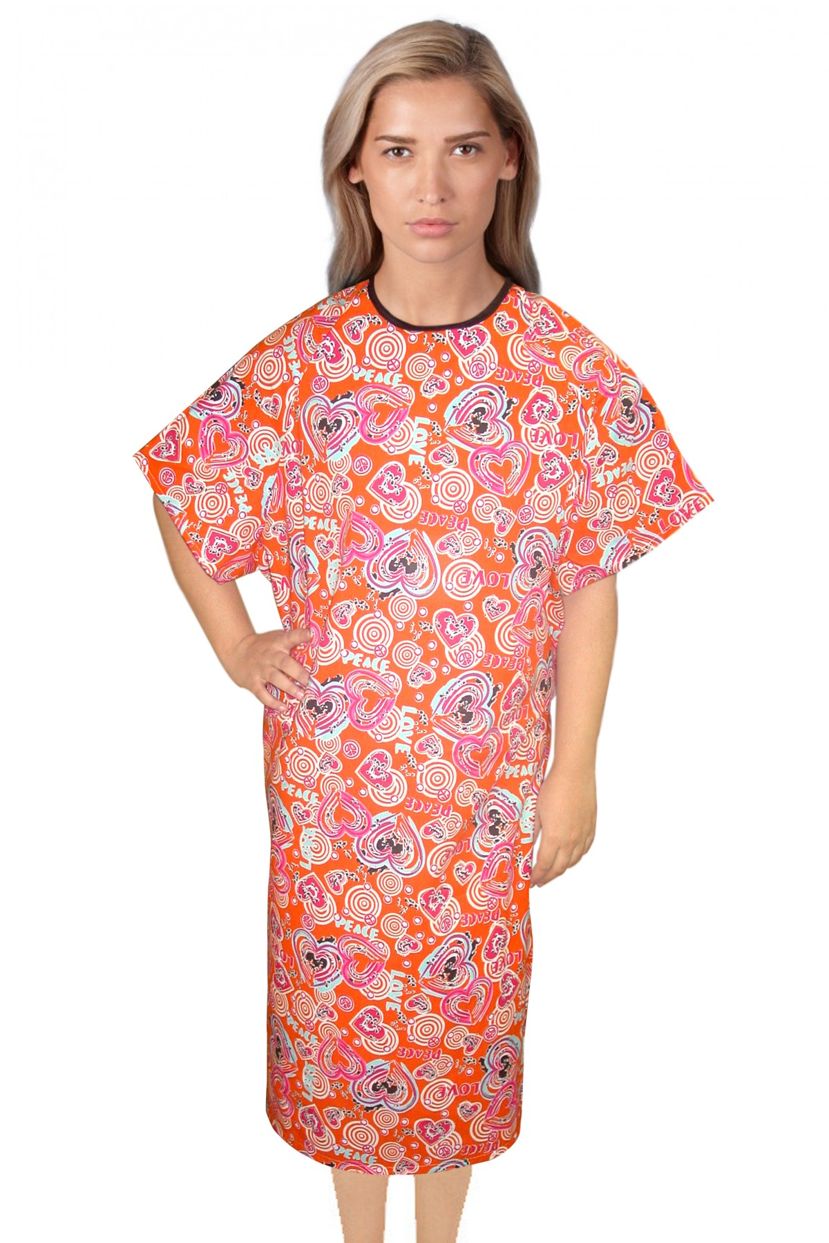 PATIENT GOWN HALF SLEEVE PRINTED OPEN, TIE-ABLE FROM TWO POINTS LOVE PEACE ORANGE Chest 54 Inches Length 45 inches $5.75 and Chest 80 inches Length 49 inches $8.75