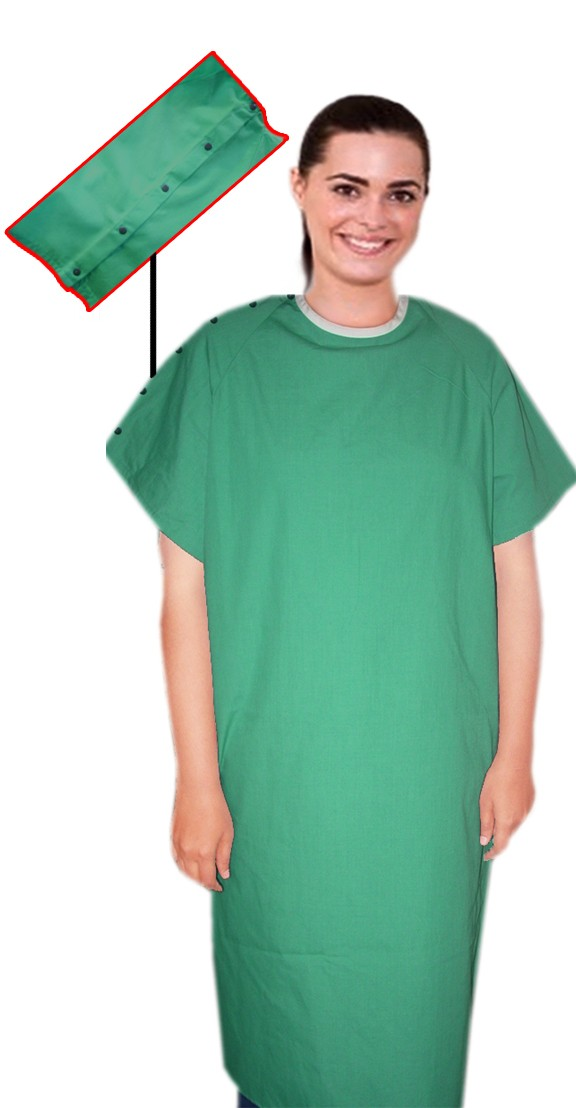 PATIENT GOWN FULL SLEEVE WITH SHOULDER OPENING SNAP BUTTON CONTRAST PIPING BACK OPEN, TIE-ABLE  FROM TWO POINTS Chest 54 Inches Length 45 inches $7.24 and Chest 80 inches Length 49 inches $10.24
