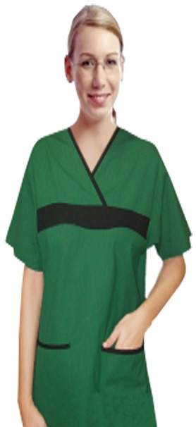Stretchable Scrub Set no Pocket Normal Unisex Solid Half Sleeve (top without pocket and bottom without pocket) in 97% Cotton 3% Spandex
