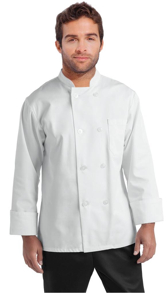 Poplin Men's Full Sleeve Chef Coat With 1 Chest pocket and 1 Sleeve Pocket - Button Front Closure (48 perc cotton 52 perc polyester Light weight poplin)