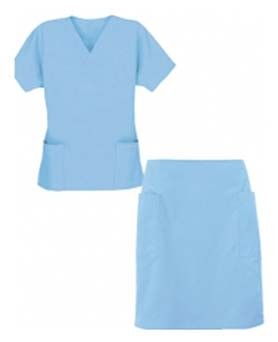 STRETCHABLE SCRUB SKIRT SET 4 POCKET LADIES (2 POCKET TOP, 2 POCKET SKIRT) IN 97% COTTON 3% SPANDEX