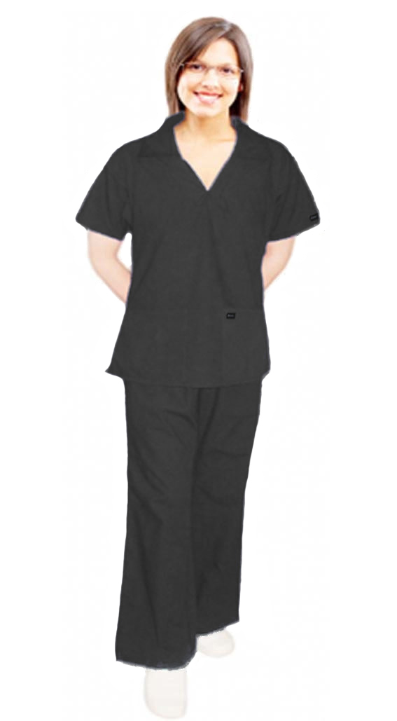STRETCHABLE SCRUB SET 4 POCKET LADIES WITH V-NECK COLLAR STYLE TOP HALF SLEEVE WITH FLARE LEG PANT (Top 2 Pockets with 2 Pockets Pant) IN 97% COTTON 3% SPANDEX